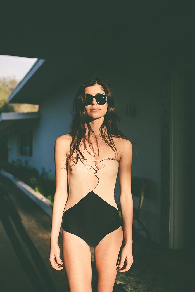 two-tone swimsuit #style #fashion