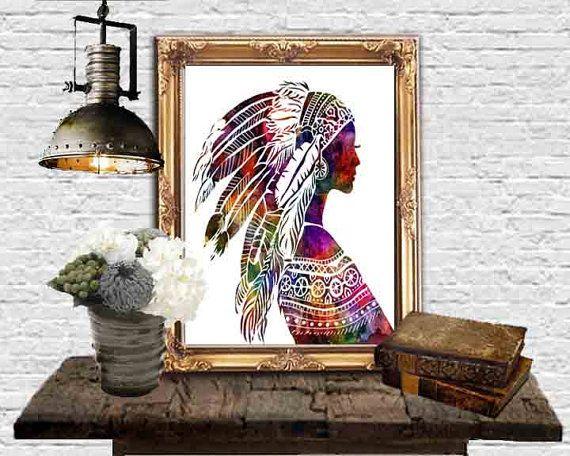 Native American Art Young woman Headdress Wall Decor by DaniJArts