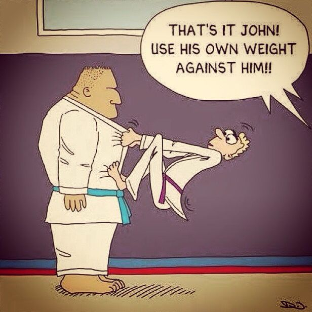 Martial arts funnies Use his weight against him?!