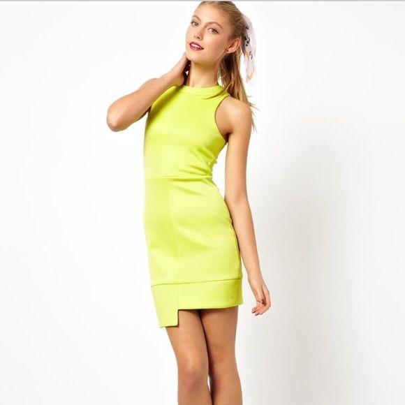NWT ASOS dress ASOS dress in Chartreuse with asymmetrical hem.  ASOS Dresses