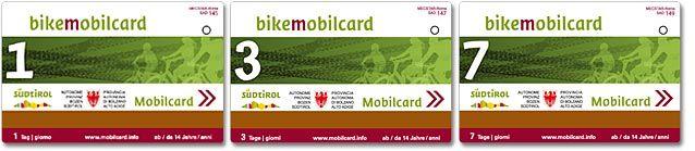 La bikemobil Card è un biglietto combinato per l'utilizzo dei mezzi di trasporto pubblico e di una bici a noleggio, valido in tutto il territorio provinciale. È disponibile in versione giornaliera, per tre o sette giorni consecutivi.