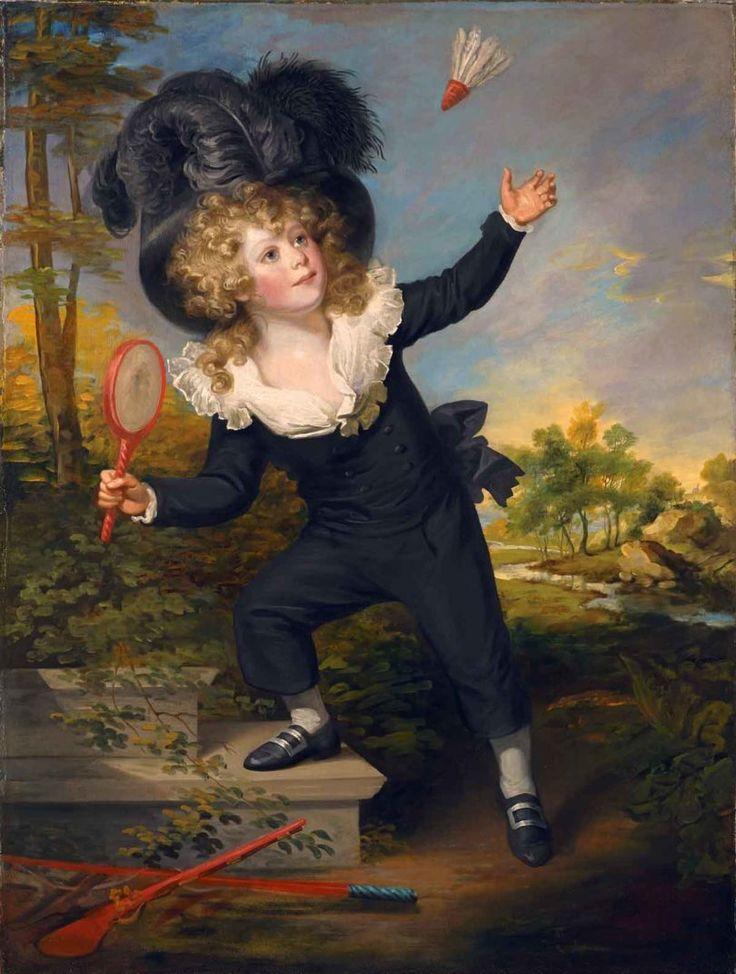 William Beechey (1753-1839), Porträt des Kenneth Dixon beim Federballspiel, Öl/Lwd., 135 x 100cm (Foto: The Matthiesen-Gallery, London)