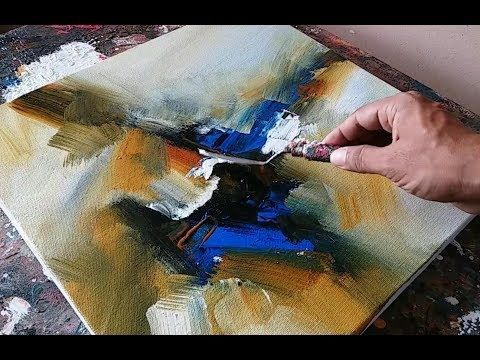 Abstract Painting / Demonstration / Simple Acrylic Mixing and Spatula Techniques – YouTube