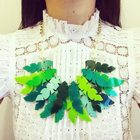 How amazing does the Balustrade Palm Necklace look layered over sequinsandleather's (IG) lace top? We love!