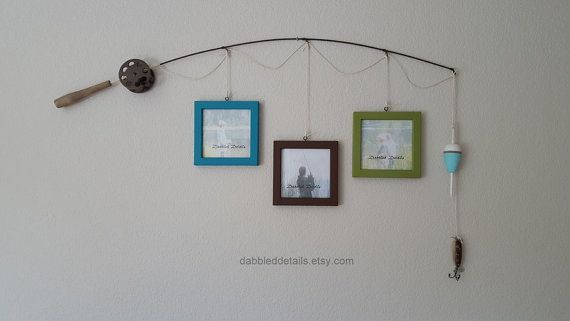 Fishing Pole Picture Frame  Brown or Silver Pole by DabbledDetails