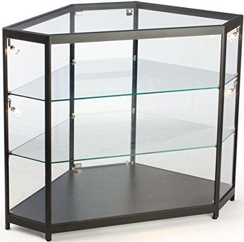 This glass display cabinet has a unique hexagon shape that can be used independently or within a larger display case configuration. Constructed from tempered glass, this display cabinet has aluminum extrusions and a black laminate base. There are 2 adjustable shelves, also made of tempered... more details available at https://furniture.bestselleroutlets.com/accent-furniture/display-curio-cabinets/product-review-for-hexagon-shaped-corner-display-cabinet-with-aluminum-extrusion