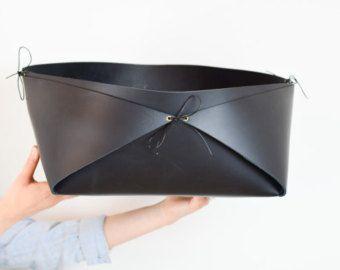 Leather storage basket leather magazine rack от boodoByTamarNix