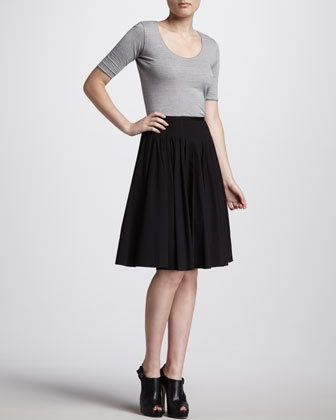 Stretch-Cotton Pleated Skirt by Jason Wu at Neiman Marcus.