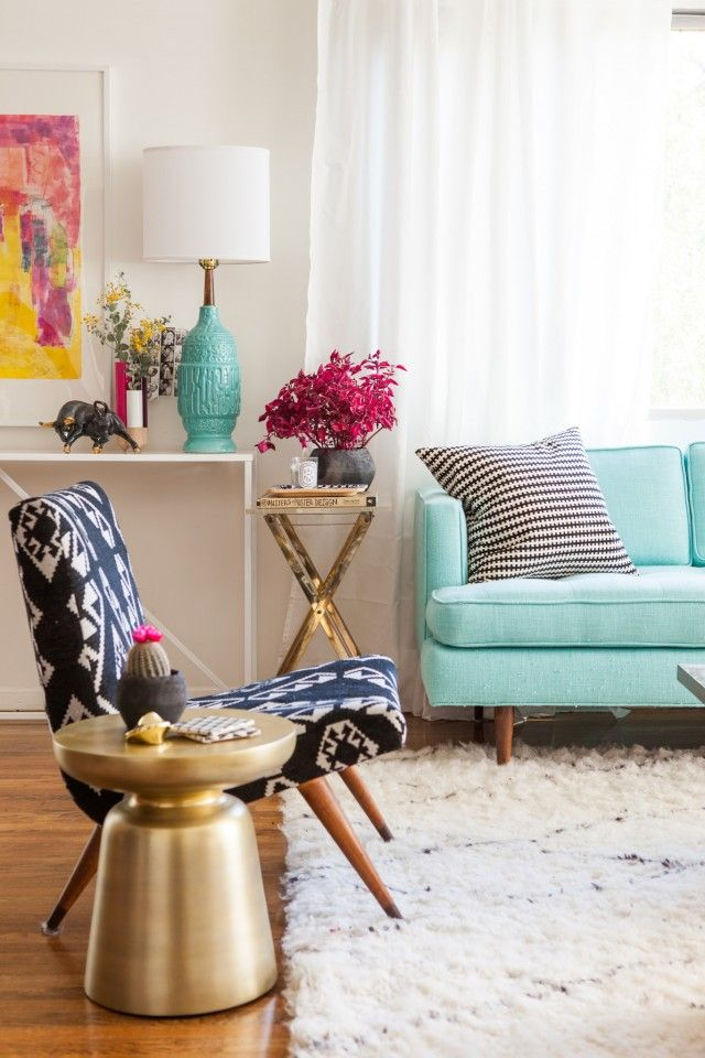 17 Living Rooms with a Pop of Color. #design #colour #ambience trends, design trends, colors inspiration. See more at http://www.brabbu.com/en/inspiration-and-ideas/category/trends