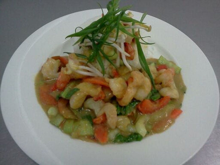 Thai Green Prawns Curry served with Rice