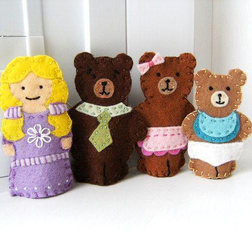 Goldilocks and the Three Bears Finger Puppet Set, via Flickr.