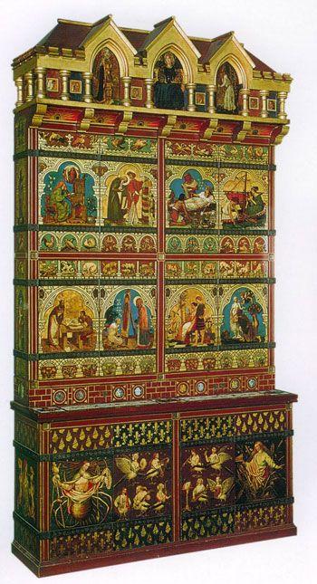 cgmfindings:  Gothic Revival Arts & Crafts CabinetWilliam Burgess