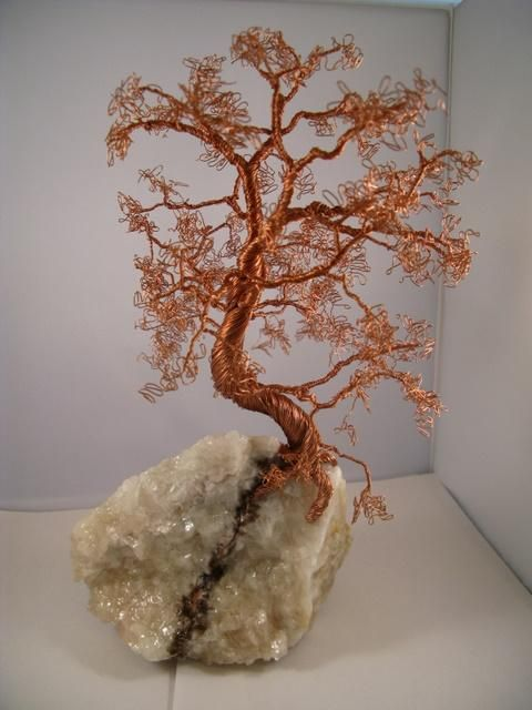 Copper Wire Tree on Crystal Sculpture by Judy Byington - Copper Wire ...