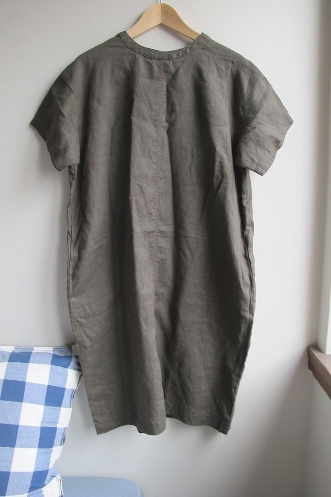 6b019a6ee7 Muji Japan olive green shift dress linen smock style Size L  fashion   clothing  shoes  accessories  womensclothing  dresses (ebay link)