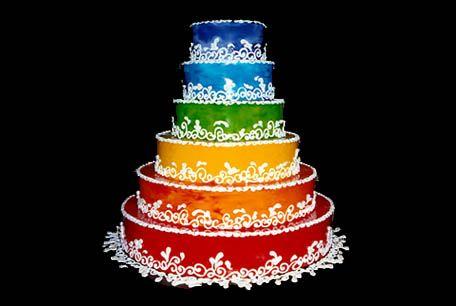 Rainbow Colored Wedding Cakes | Amazing Rainbow Wedding Cakes Ideas on eWeddingInspiration ...