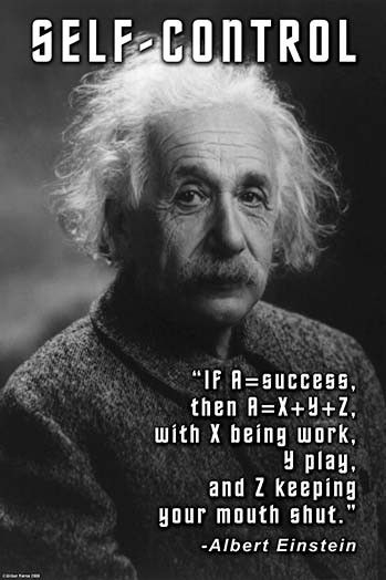 If A = Success, the A = X + Y + Z, with X being work, Y play, and Z keeping your mouth shut. Albert Einstein