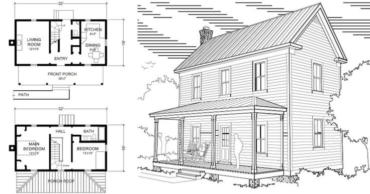 Two Story 16′ x 32″ Virginia Farmhouse House Plans House