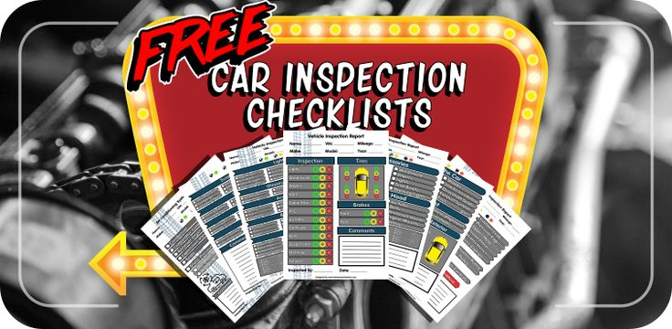 5 free vehicle inspection checklists in .png and .svg format so you can…
