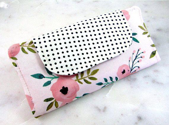 Ladies Wallet Slimline Wallet Modern Floral Swiss by craftbot