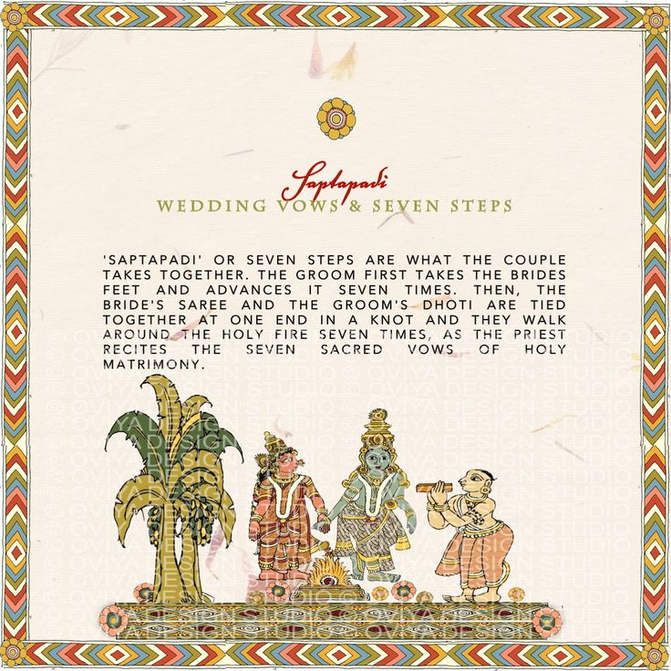 South Indian Kalamkari Inspired Wedding Program Detail Page-Saptapadi