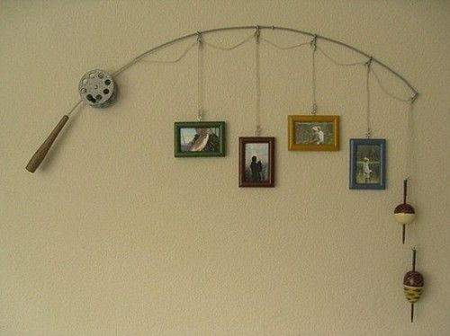 For a boy's room or cabin wall - mount old rod & reel; attach frames to I bolts or cup hooks, suspend from hooks attached to wall at key points to look as though hanging from the fishing line - http://fabuloushomeblog.com/2012/12/20/love-this-for-a-boys-room/