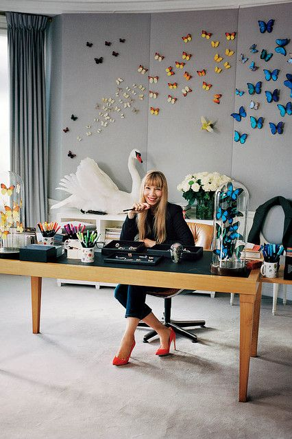 Victoire de Castellane's studio on the Rue François 1er in Paris featured in the Wall Street Journal Magazine.  A workspace in synch with her jewelry designs.