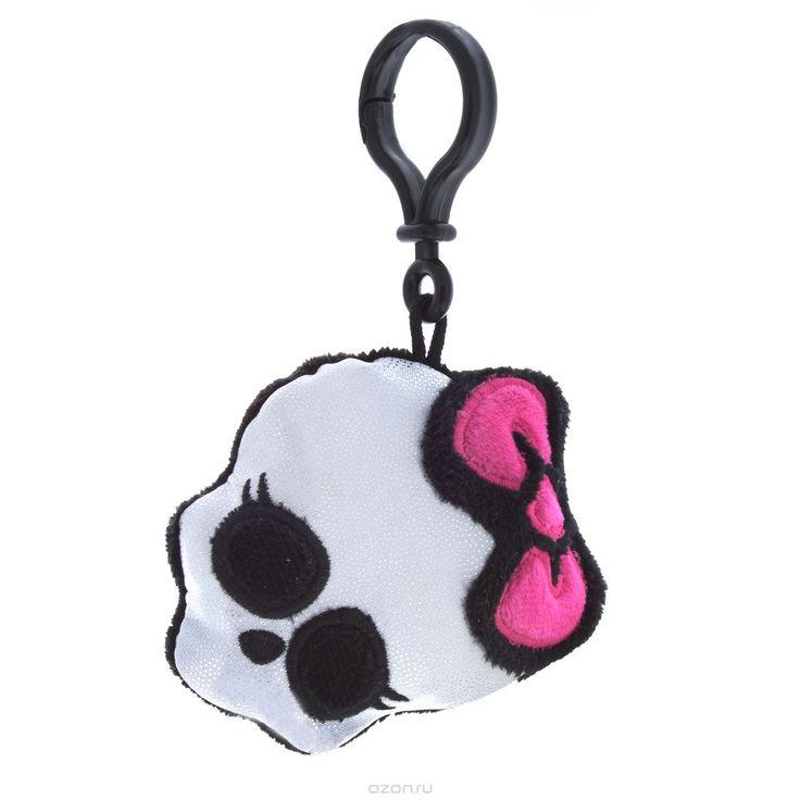 Мягкая игрушка-брелок Monster High Череп, цвет: серебристый, черный, розовый, 9 см