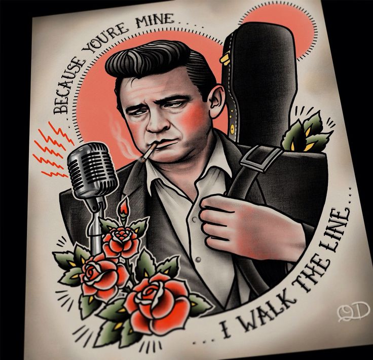 Johnny Cash tattoo flash by Quyen Dinh