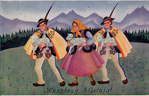 slavic-roots:  Polish Easter card depicting Gorals, native mountaineers of the Polish and Slovak Carpathians