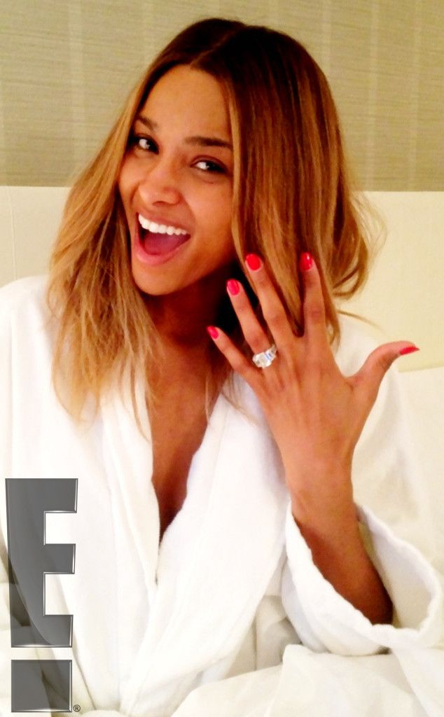 The singer showed off her 15-carat diamond engagement ring after her boyfriend, rapper Future, proposed in October 2013