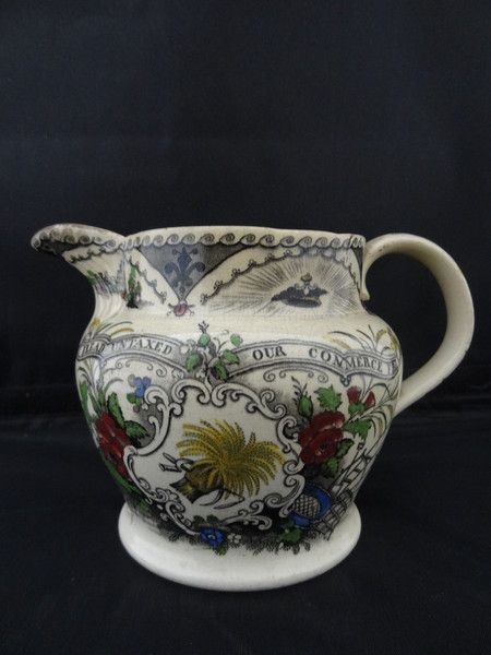 Pearlware Jug depicting contemporary reaction to the Corn Laws
