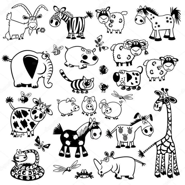 маленькие картинки для распечатки черно белые животные предметы быта нашем интернет-магазине