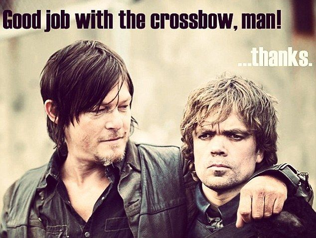 Bonding over crossbows: The Walking Dead's Norman Reedus shared a photo to Instagram on Friday with fellow actor Peter Dinklage from Game of Thrones photo-shopped in
