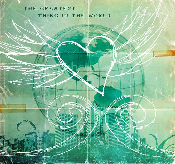 """This is for an upcoming sermon series called """"The Greatest Thing In The World"""". It will be talking about love through the passage in 1 Corinthians 13.  It is still really low res because the client hasn't approved it yet. If approved, it will be used as a large banner and also for Power Point on the main screens."""