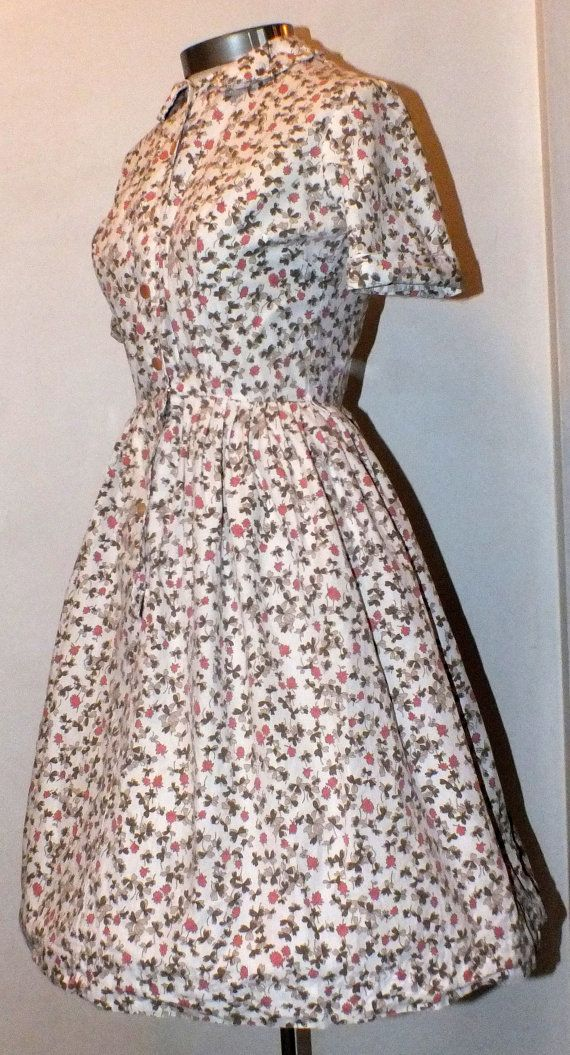 1950s Clover Print Cotton Day Dress by OrchidRoomVintage on Etsy