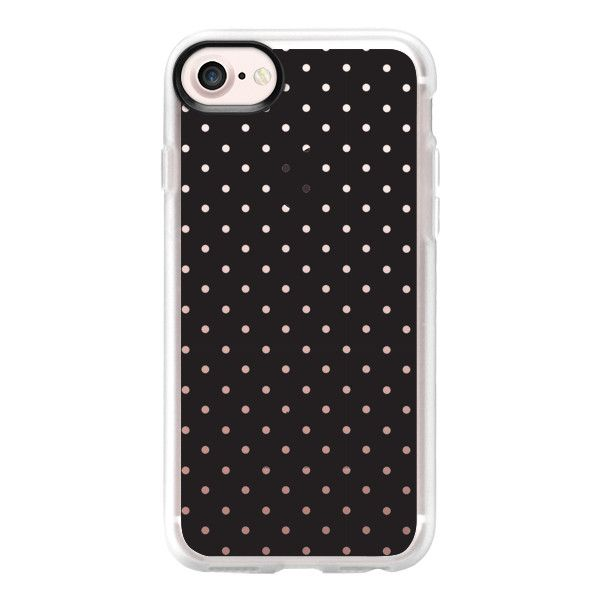 Simple black white girly hipster modern polka dots - iPhone 7 Case And... (€35) ❤ liked on Polyvore featuring accessories, tech accessories, iphone case, clear iphone case, dots iphone case, polka dot iphone case, iphone cases and iphone cover case