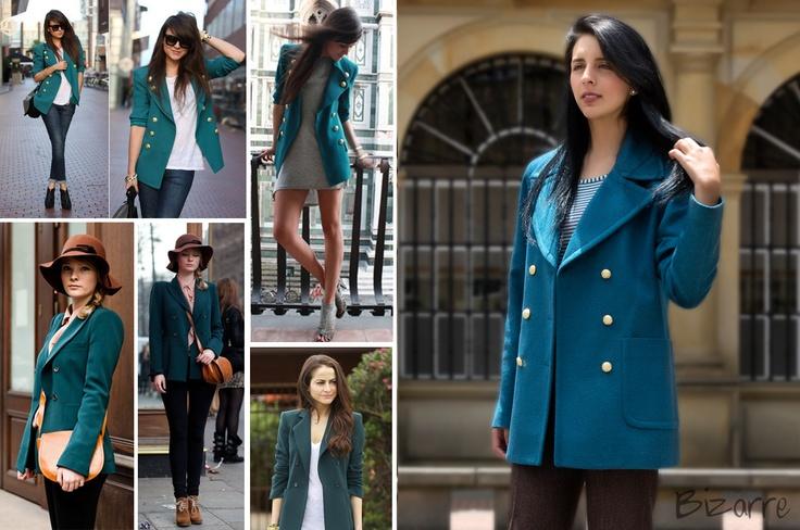 Chaquetón cruzado color Azul Petroleo/ Aguamarina, Oversized, coat, teal, blazer