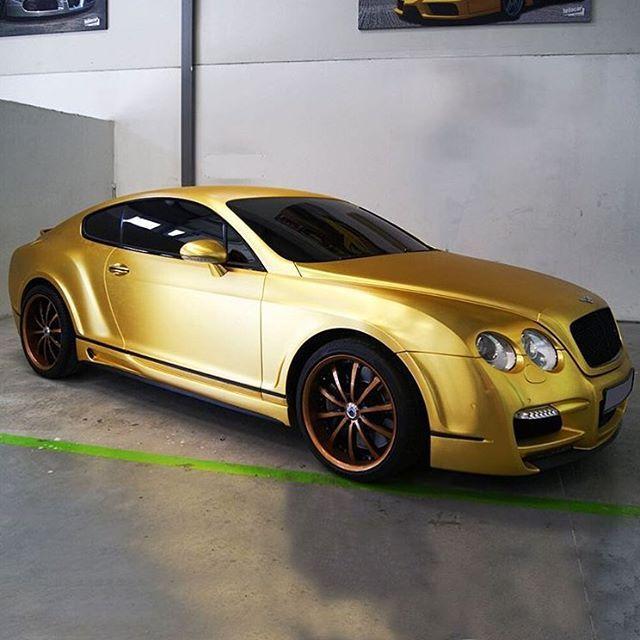 Gorgeous Custom Bentley: Gold Brushed Chrome Bentley