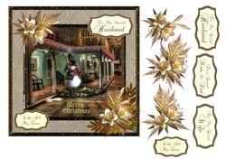 Christmas card with snowman evening scene and decoupage on Craftsuprint - View Now!