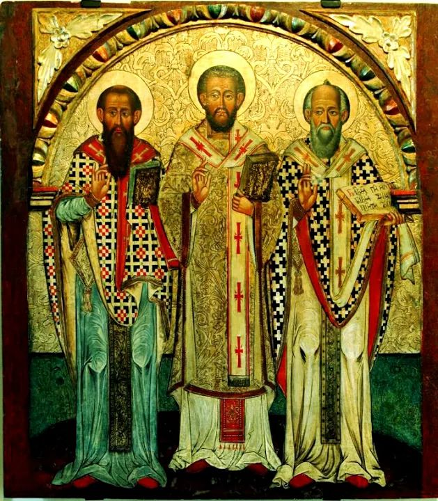 The Three Hierarchs of Eastern Christianity refers to St. Basil the Great (Basil of Caesarea), St. Gregory the Theologian (aka Gregory of Nazianzus) & St. John Chrysostom. They were highly influential