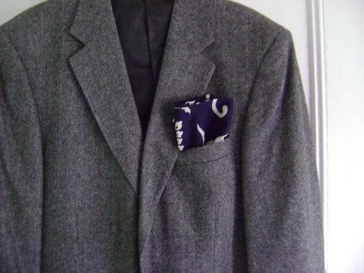 Men's Pocket Square Handkerchief from Repurposed Kimono Cotton Indigo Floral and Vine Design by KimonoBoro on Etsy