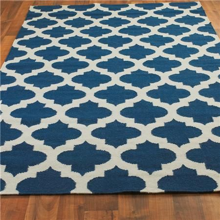 Ironwork Trellis Dhurrie Rug: Colbalt Blue and Ivory- We have this rug, it looks wonderful!!