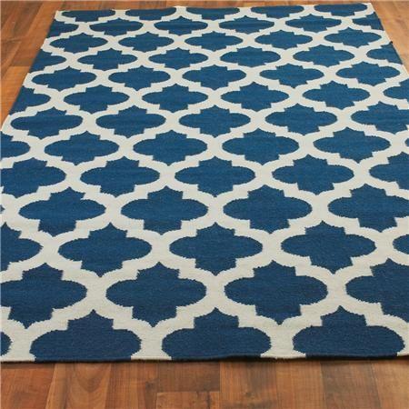 Ironwork Trellis Dhurrie Rug: Colbalt Blue and Ivory- We have this rug, it looks wonderful!!