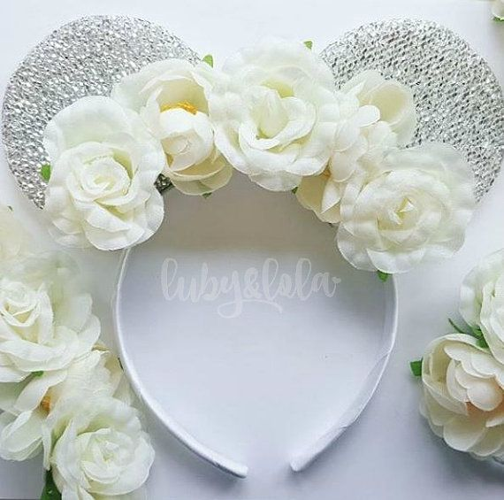 Silver Minnie Mouse ears with cream flower crown. Minnie headband by lubyandlola Boho Bridal Minnie Mouse ears Floral