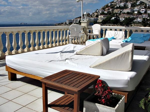 Loungers on the deck of the Vistabella Hotel in Roses, Spain.  It provided a relaxing view of the sea and surrounding area from an elegant location. @vistabellahotel