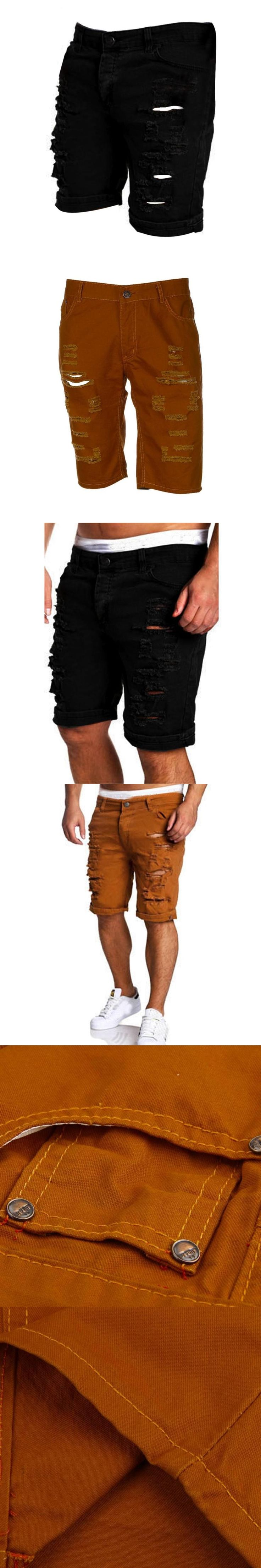 Summer Fashion Men's Casual Jeans Destroyed Knee Length Hole Ripped High sales Pants Bomber Pants pantalon homme #AA