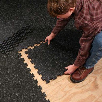 Easily add SuperLock Heavy Duty Interlocking Rubber Flooring to your home gym utility room work space basement or laundry roomLays down in minutes via easy interlocking system