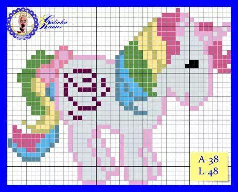 Resultado de imagen de unicornio em ponto de cruz