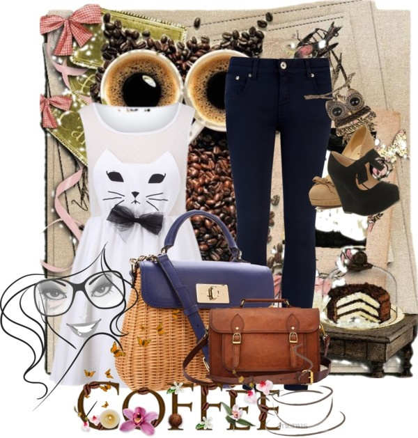 """""""Coffee with the Owl and the Cat"""" by alicia-king on Polyvore"""