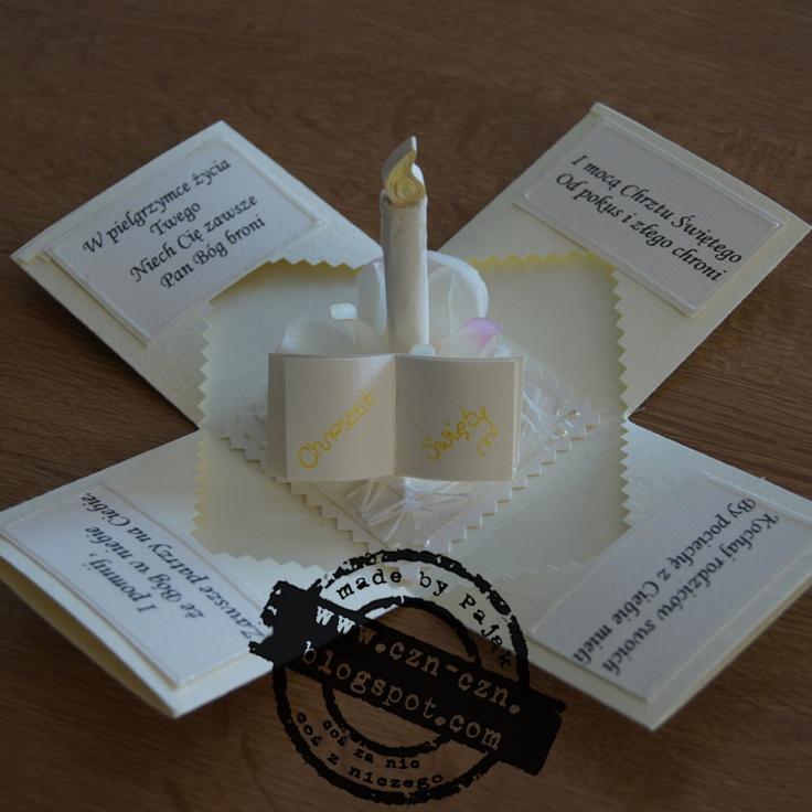 Coś Z Niczego & Coś Za Nic: 2 pudełeczka exploding-box z okazji chrztu św.